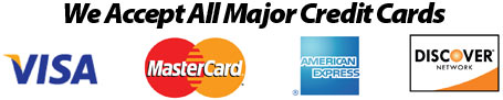 We accept all major credit cards: Visa, MasterCard, American Express, Discover Card.